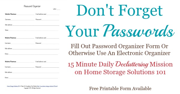 Printable password organizer form find your passwords when needed dont forget your passwords do the declutter365 mission to fill out a maxwellsz