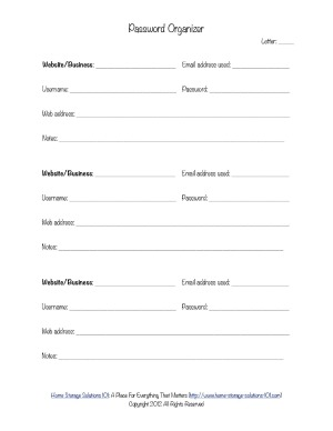 password organizer form
