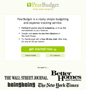 more information about pear budget a simple online budget software system