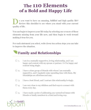 Free Printable Personal Development Goals Checklist Listing The 100 Elements Of A Bold Happy