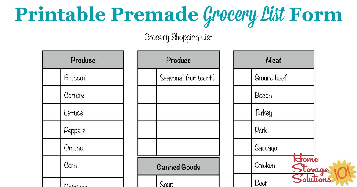 Free premade printable grocery list form designed to let you check off the items you need for the week {courtesy of Home Storage Solutions 101}