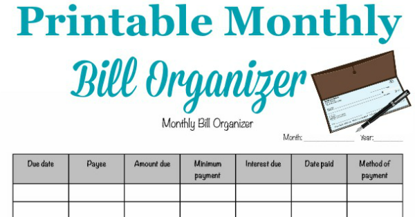 photo regarding Printable Monthly Bill Organizer titled Printable Every month Monthly bill Organizer Toward Crank out Yes Your self Spend Costs