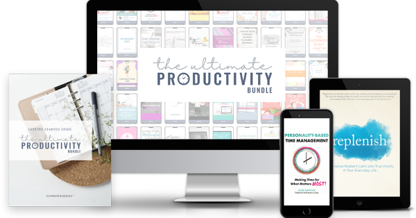 The Ultimate Productivity Bundle has 46 resources to help you with time management, goal setting, and productivity at work and home, including printables, eBooks and eCourses, that is worth more than $1,500, but for less than $50 {more information on Home Storage Solutions 101}