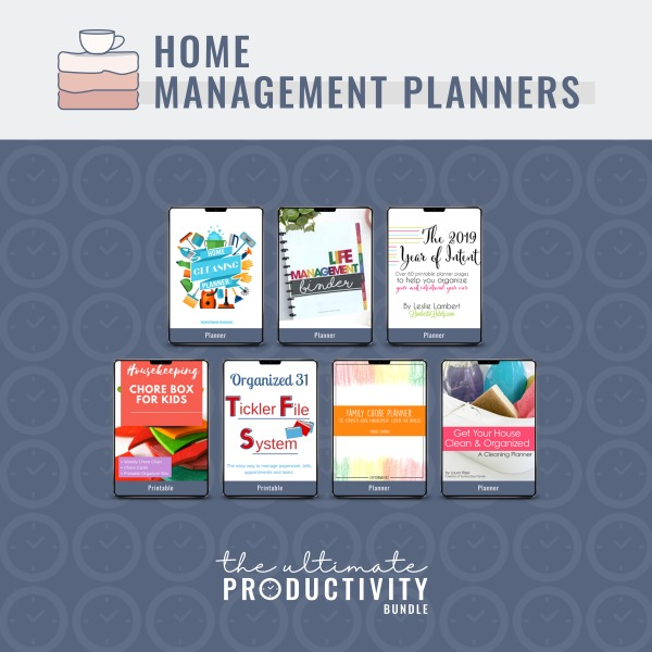 Home management planners included in the 2019 Ultimate Productivity Bundle