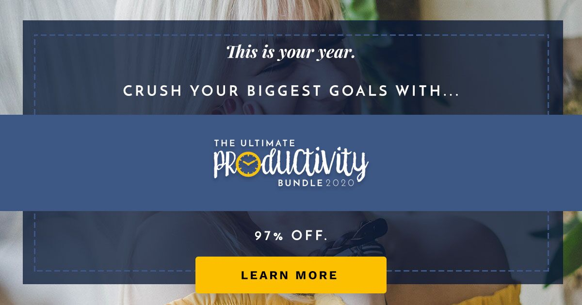 The Ultimate Productivity Bundle has 73 resources to help you with time management, goal setting, and productivity at work and home, including printables, eBooks and eCourses, that is worth more than $2,800, but is 97% off, for just $47 {more information on Home Storage Solutions 101}