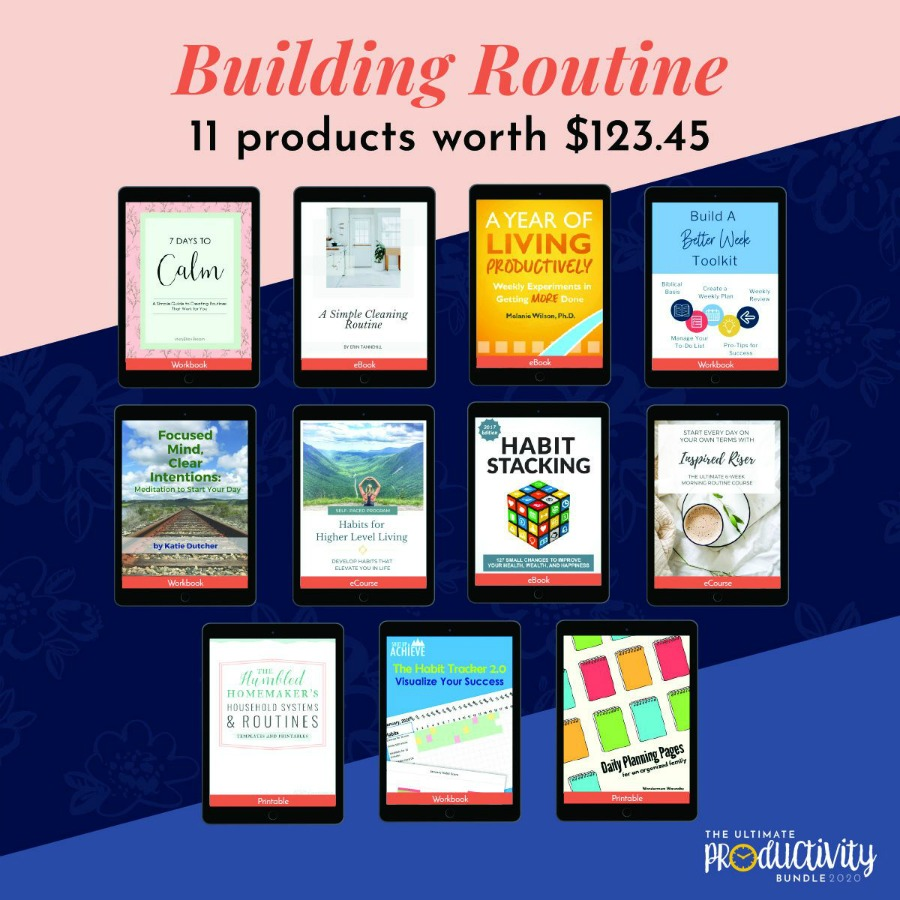 Resources included in the 2020 Ultimate Productivity Bundle to help you build routines