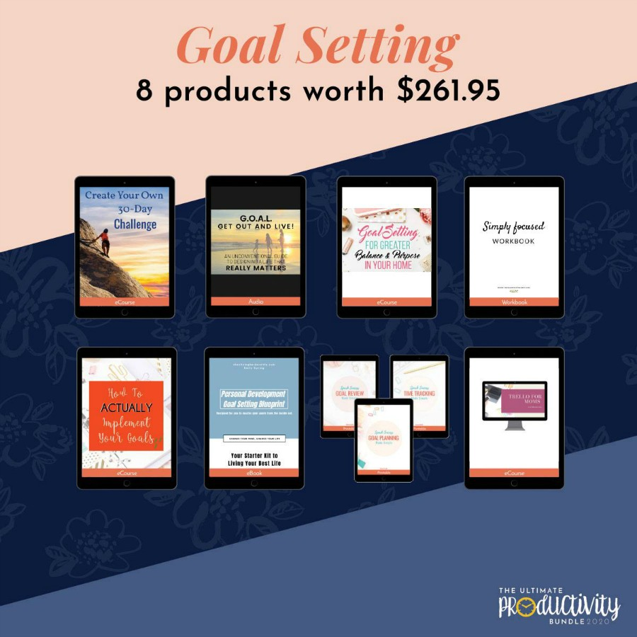 Resources included in the 2020 Ultimate Productivity Bundle all about goal setting