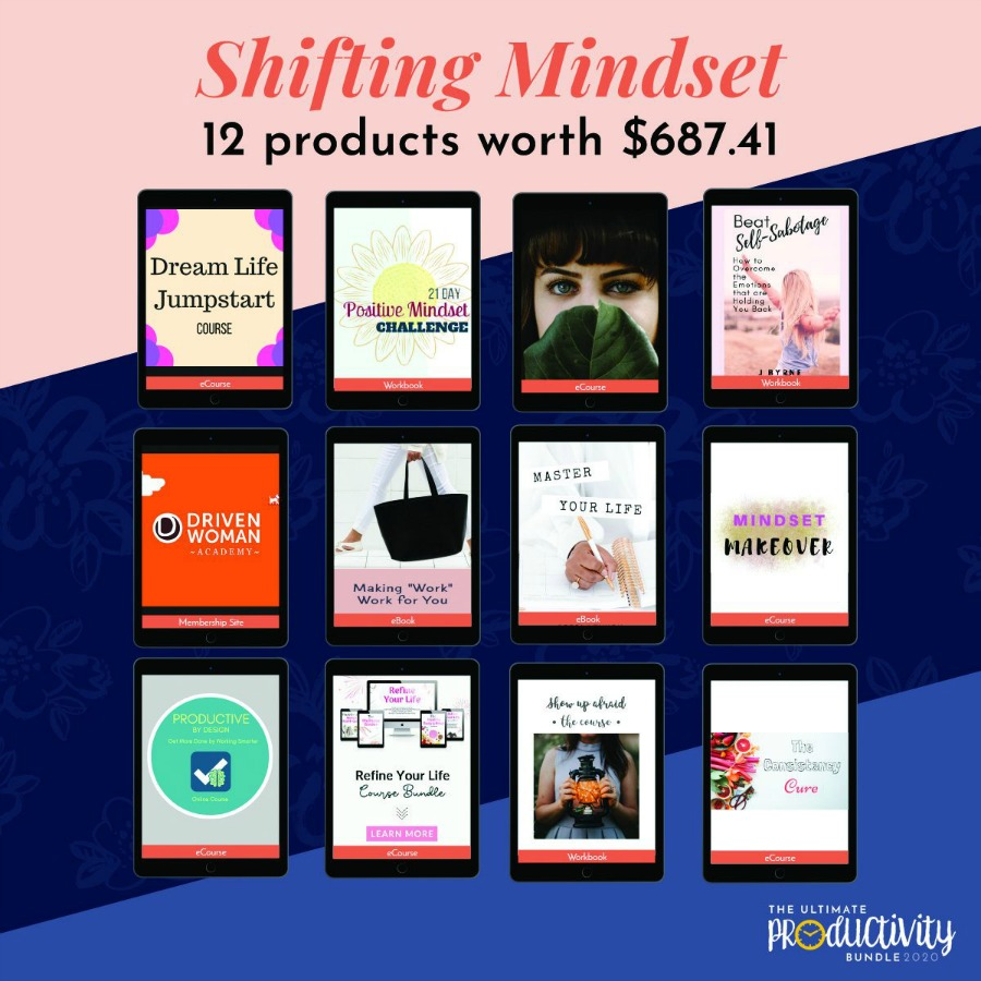 Resources included in the 2020 Ultimate Productivity Bundle about shifting your mindset