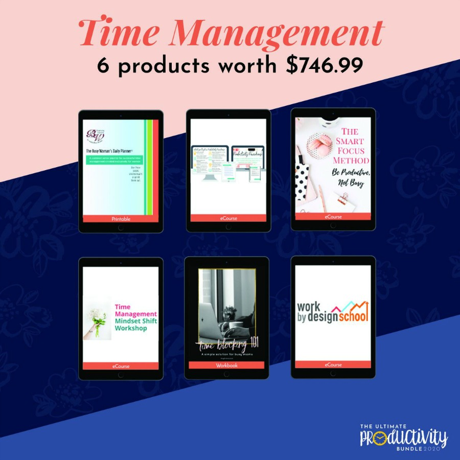 Resources included in the 2020 Ultimate Productivity Bundle about time management
