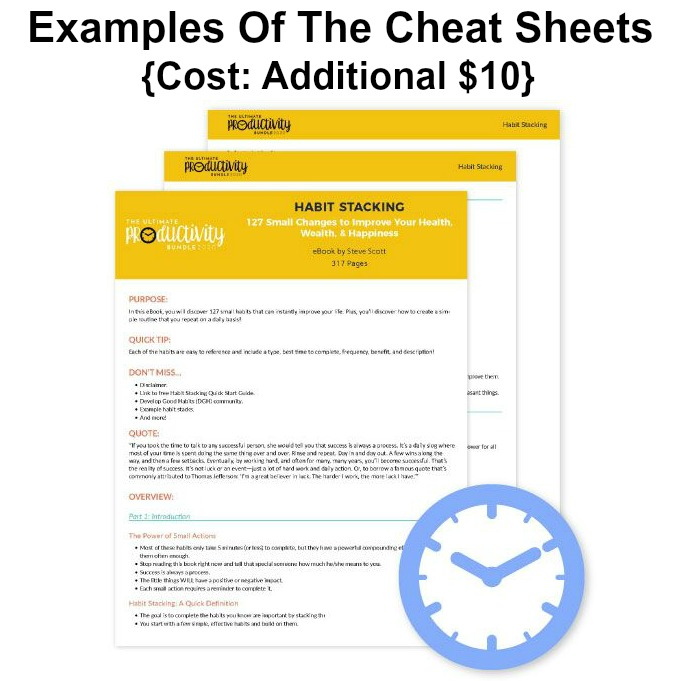 Examples of the 'Cheat Sheets' that you can purchase as an add-on with the Ultimate Productivity Bundle