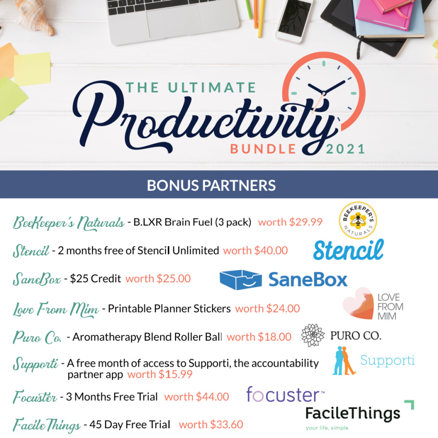 Bonuses you can claim when you purchase the Ultimate Productivity Bundle