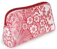 red purse makeup bag