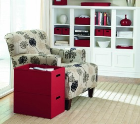 reading area in living area, with rubbermaid bento box
