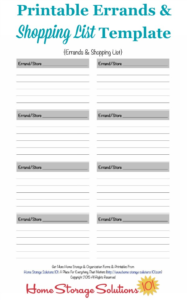 Free printable errands and shopping list template that you can fill out over the course of the week and never forget all the things you've got to pick up or do during your regularly scheduled errands time {courtesy of Home Storage Solutions 101}