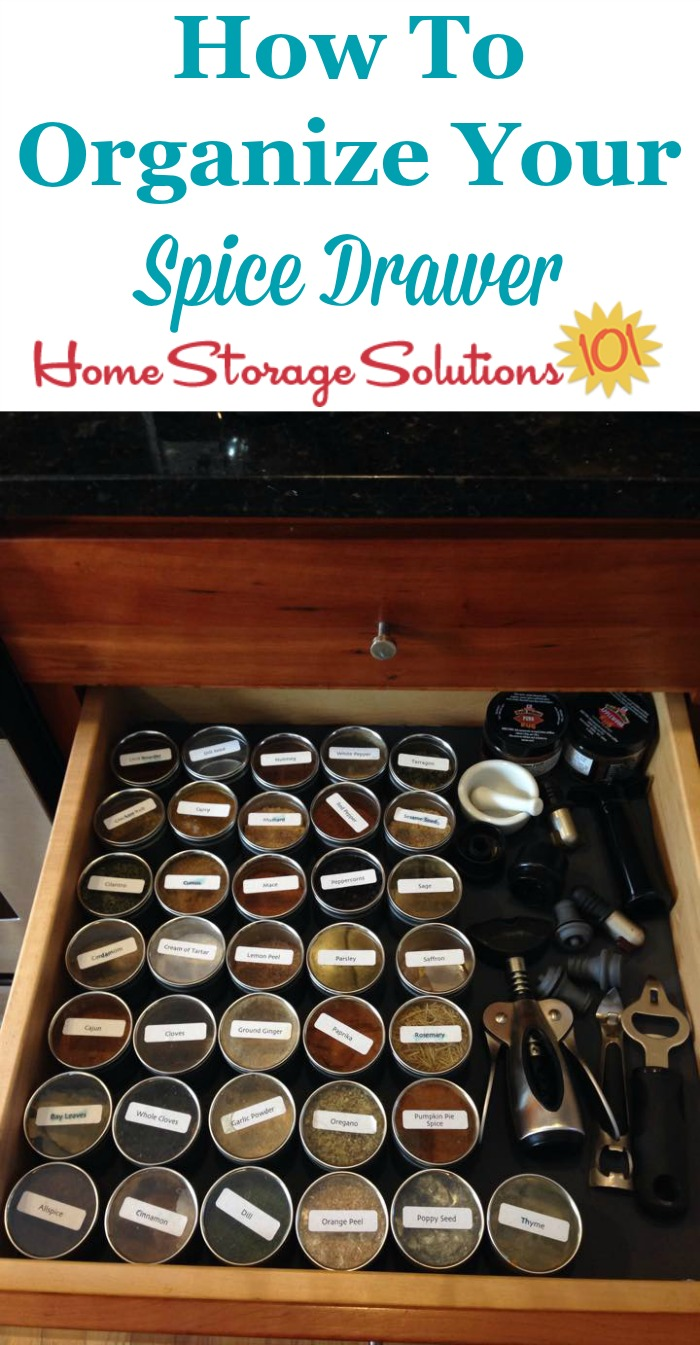 How to organize your spice drawers so all your herbs and seasonings are easy to find when you're cooking or preparing food {on Home Storage Solutions 101} #KitchenOrganization #PantryOrganization #Organizing
