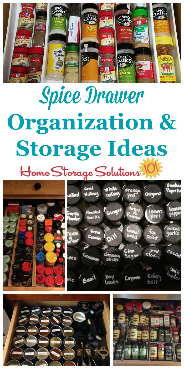 Here are quite a few practical spice drawer organization and storage ideas you can use in your kitchen {on Home Storage Solutions 101} #KitchenOrganization #PantryOrganization #KitchenStorage