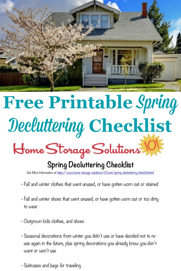 Here is a free printable spring decluttering checklist that you can use to get rid of clutter around your home when spring begins {on Home Storage Solutions 101} #SpringDecluttering #DeclutteringChecklist #SpringCleaning