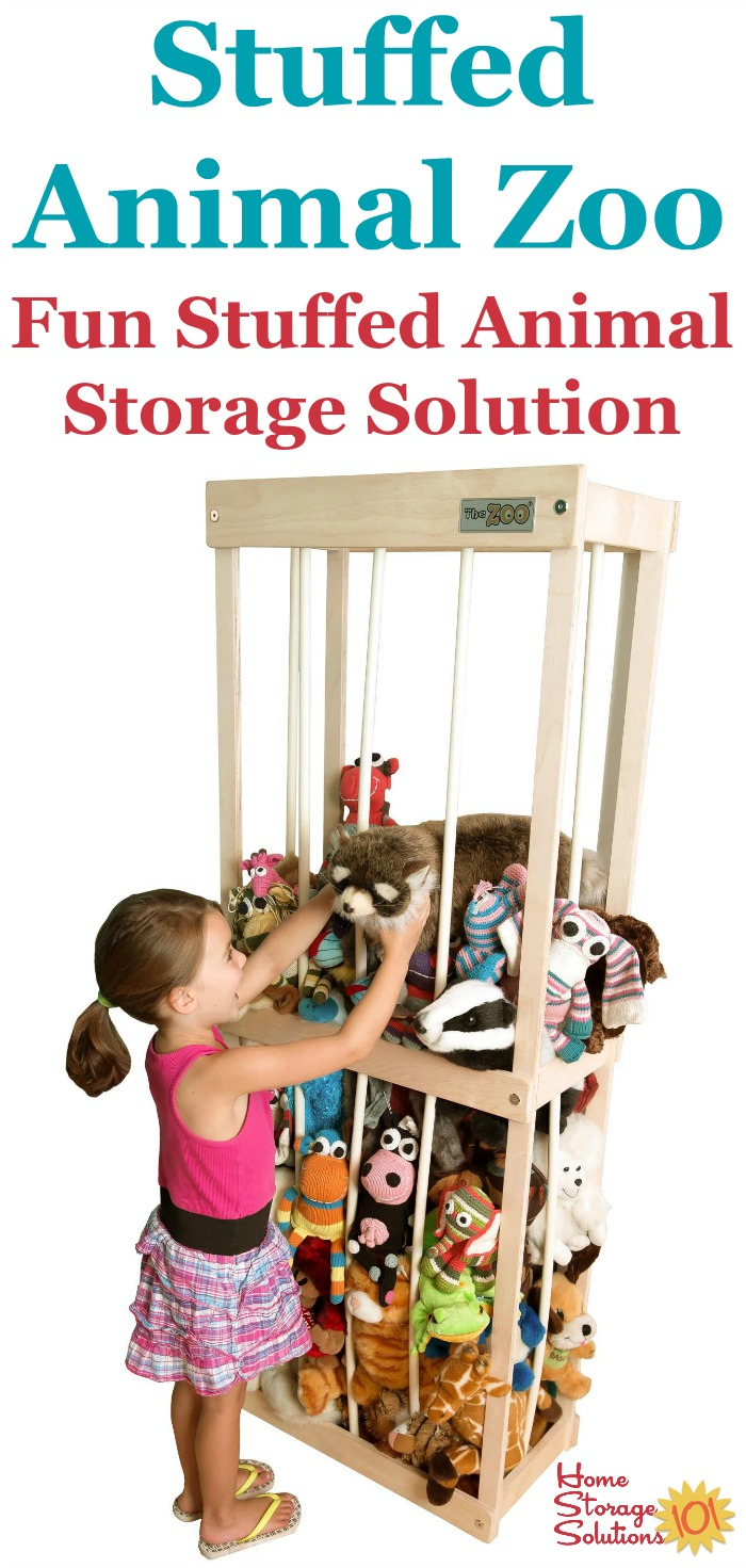The Stuffed Animal Zoo is a fun way to store your child's stuffed animals right in their bedroom or playroom, to keep these toys contained while also allowing your child to access the stuffies to play with when they want {featured on Home Storage Solutions 101}