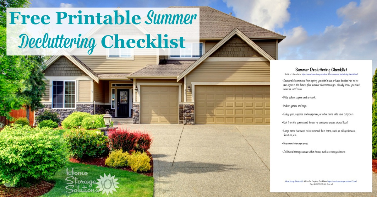 Here is a free printable summer decluttering checklist that you can use to get rid of clutter around your home when summer begins {on Home Storage Solutions 101}