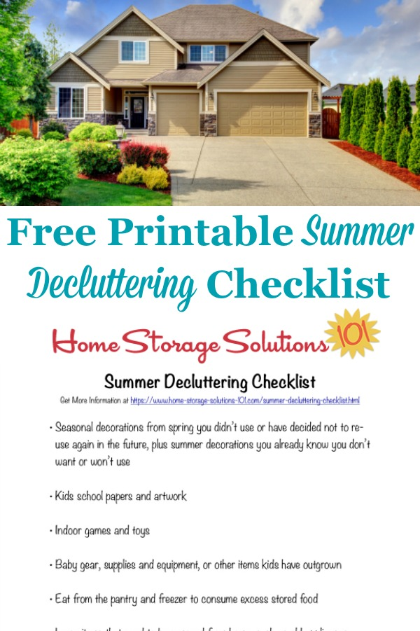 Here is a free printable summer decluttering checklist that you can use to get rid of clutter around your home when summer begins {on Home Storage Solutions 101} #DeclutteringChecklist #SummerDecluttering #SummerCleaning