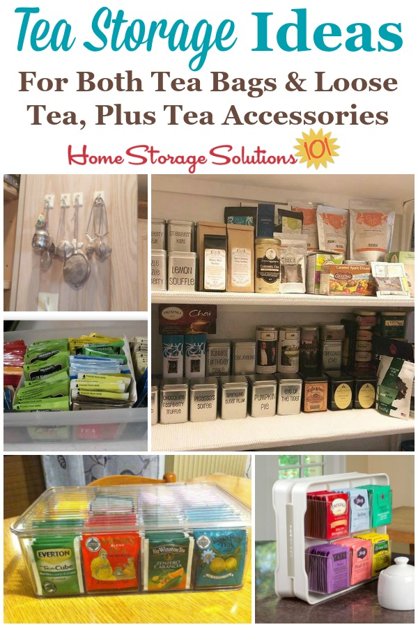 Here are tea storage ideas and organization tips for both tea bags and also loose tea, plus tips for organizing tea accessories such as strainers, honey spoons and more {on Home Storage Solutions 101} #TeaStorage #TeaOrganizer #TeaOrganization