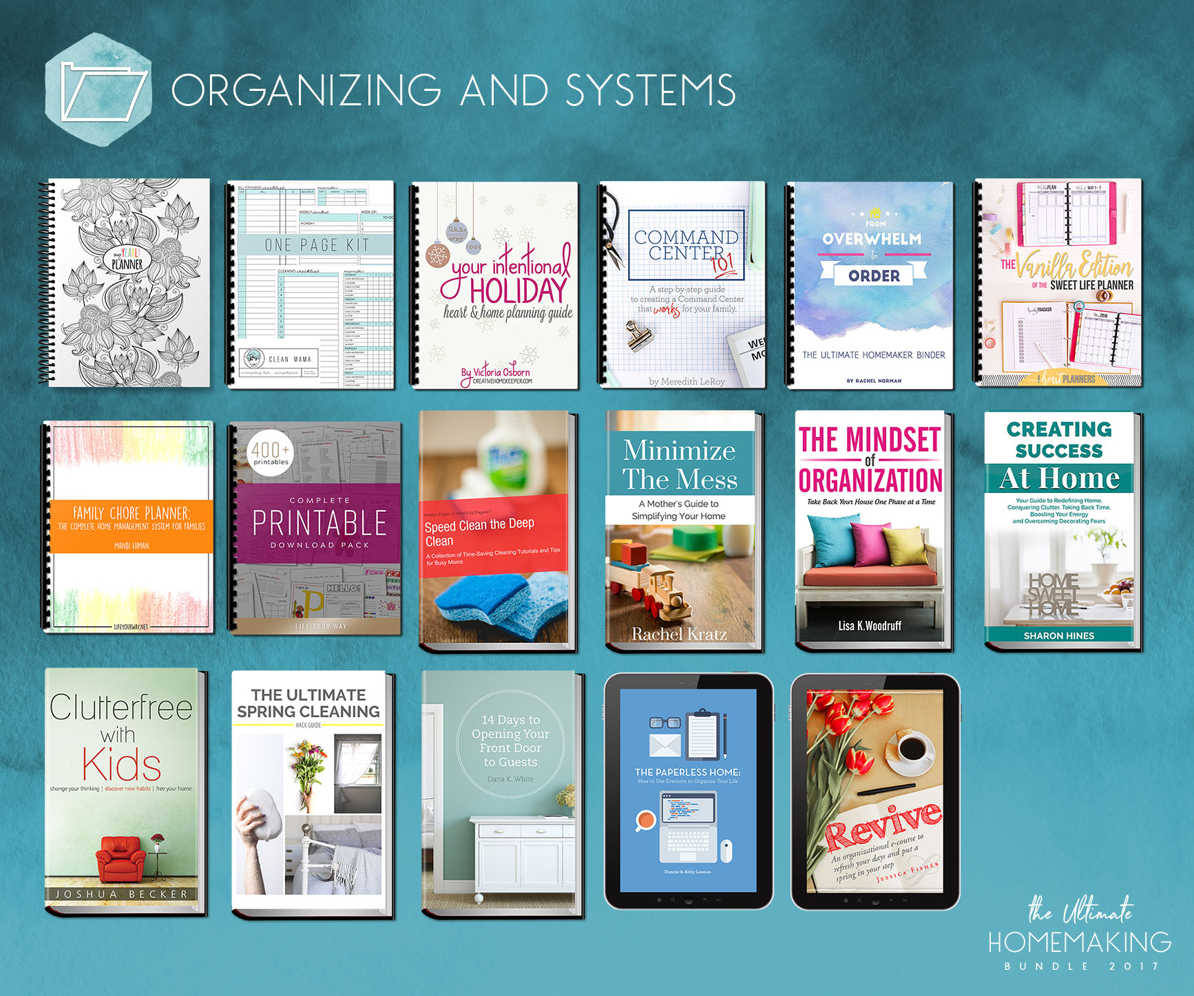 Here are the organizing and systems resources available in the Ultimate Homemaking Bundle.