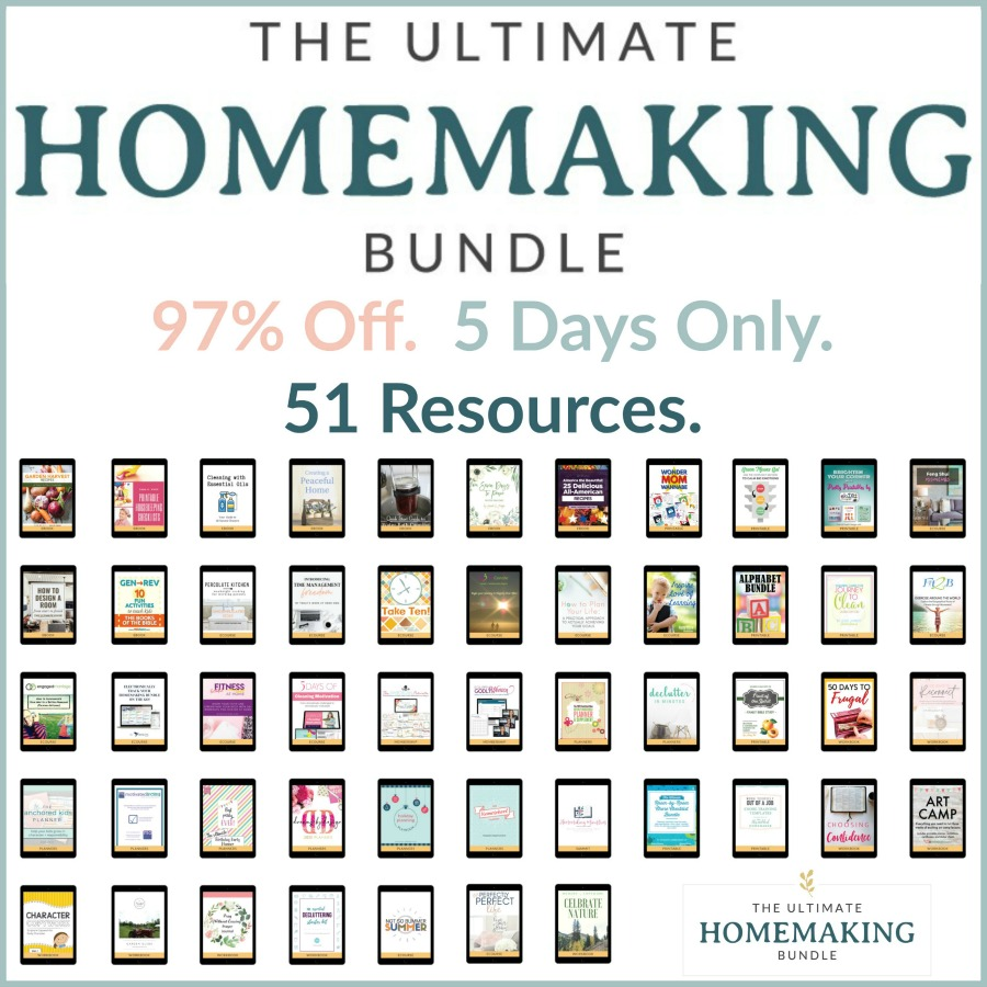 The Ultimate Homemaking Bundle has 51 resources to help you improve your home and life, including printables, eBooks and eCourses that are worth more than $1,200, for 97% off, but it's only available for a limited time {more information on Home Storage Solutions 101}