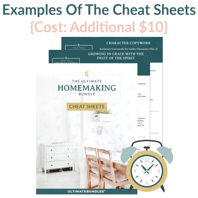 Examples of the Cheat Sheets you can get for the 2020 Ultimate Homemaking Bundle