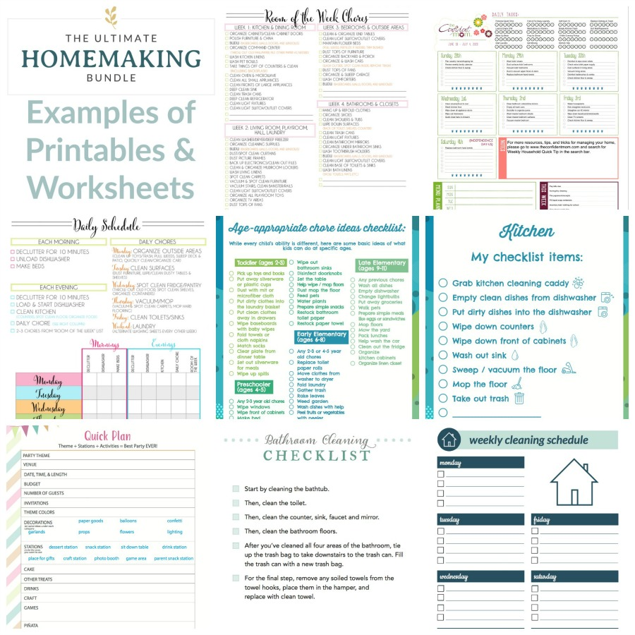 Examples of printables and worksheets you'll find inside the 2020 Ultimate Homemaking Bundle