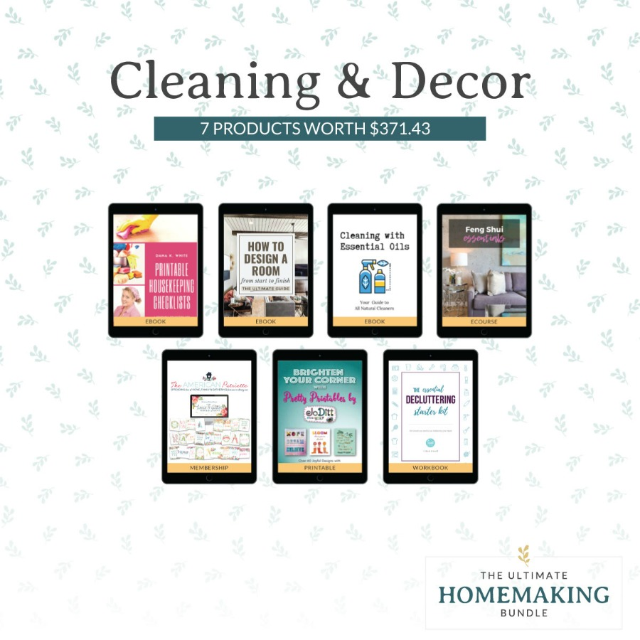 Cleaning and decor products in the 2020 Ultimate Homemaking Bundle