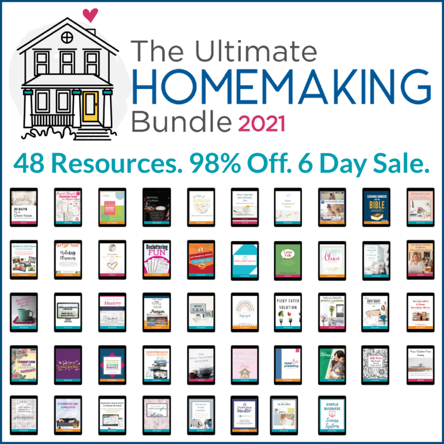 The Ultimate Homemaking Bundle has 48 resources to help you improve your home and life, including printables, eBooks and eCourses that are worth more than $2,400, for 98% off, but it's only available for a limited time. {more information on Home Storage Solutions 101}