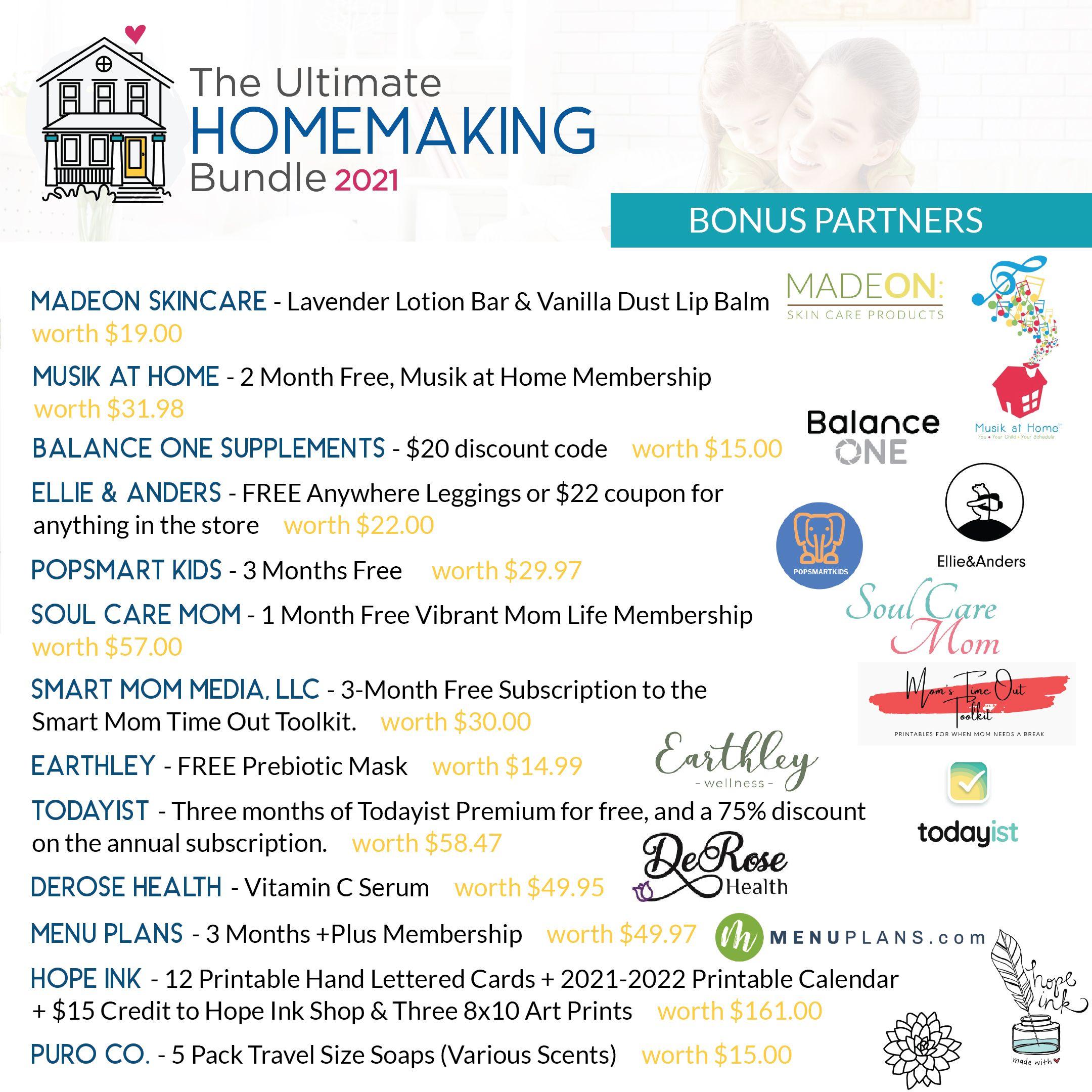 Bonus partners for the 2021 Ultimate Homemaking Bundle