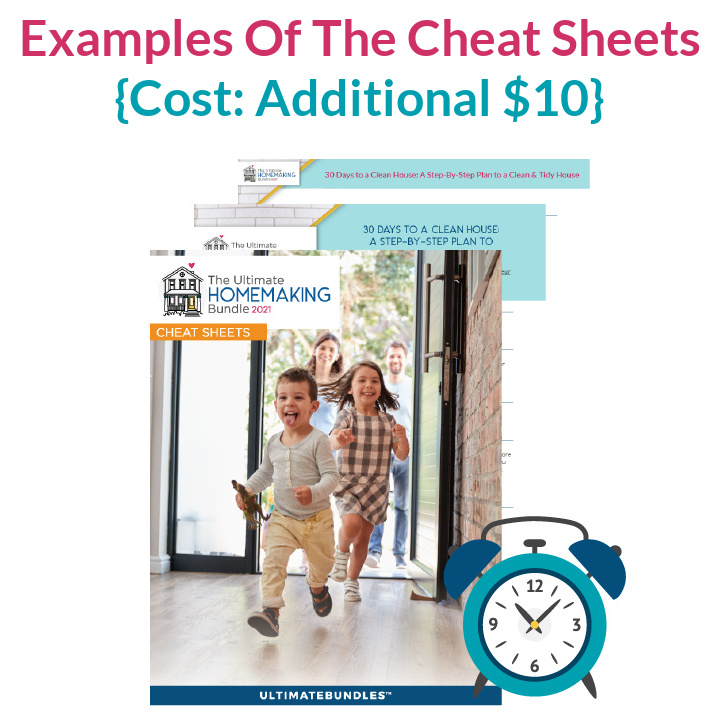 Examples of the Cheat Sheets you can get for the 2021 Ultimate Homemaking Bundle