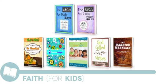 ultimate homemaking ebook bundle, faith for kids shelf