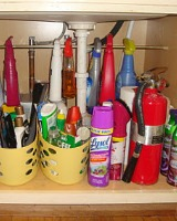 under kitchen sink cabinet organization