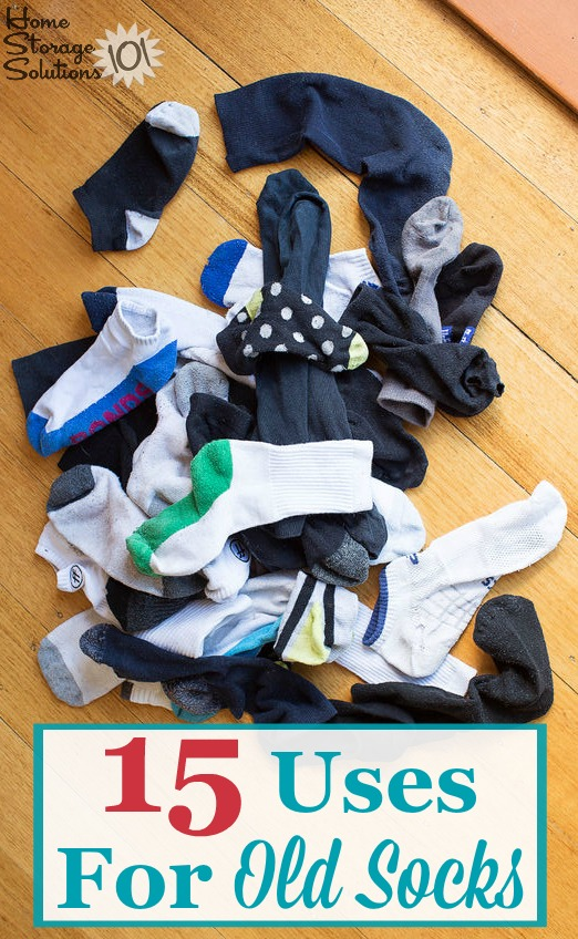 Here are 15 uses for old socks that can help you reuse and repurpose them once they've become worn out, or you've lost the mate, when #decluttering them from your sock drawer {on Home Storage Solutions 101} #Repurpose #OldSocks