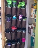 water bottle storage using an over the door shoe organizer