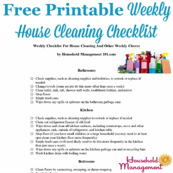Free printable weekly house cleaning checklist