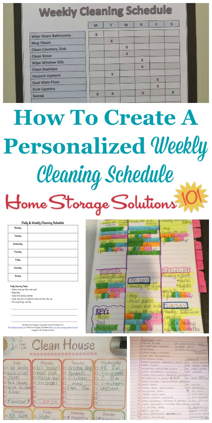 Here is how to make a personalized weekly cleaning schedule for your home that fits your personality, life, and the needs of your home, and also how to combine it with your daily cleaning schedule {a #Declutter365 mission on Home Storage Solutions 101} #CleaningSchedule #CleaningRoutine #CleaningChecklist