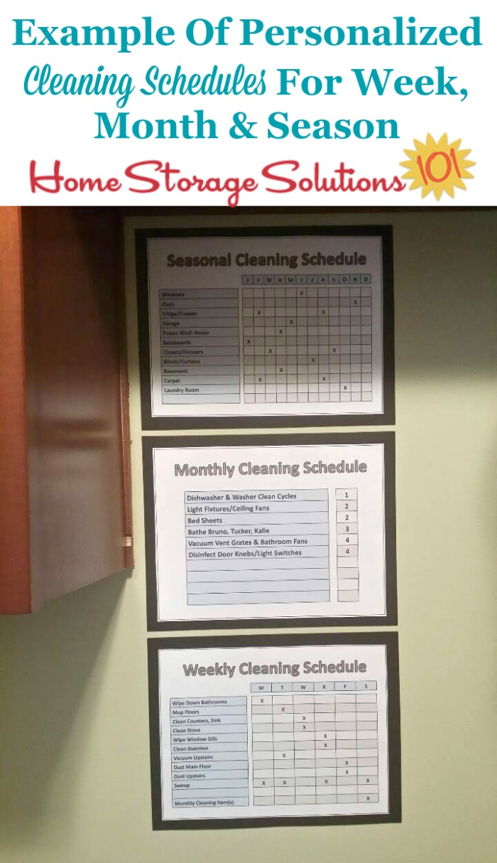 Example of personalized cleaning schedules for week, month and season {on Home Storage Solutions 101}