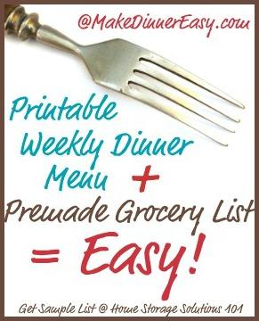 weekly dinner menu plus premade grocery list