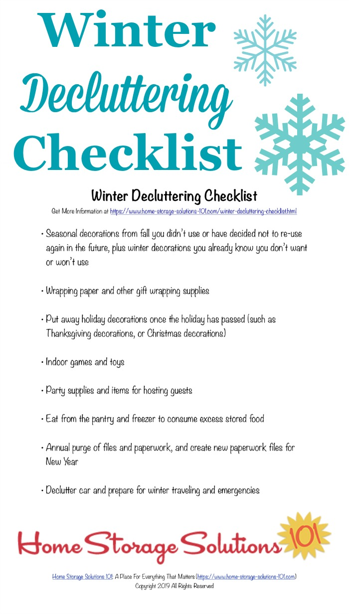 Printable winter decluttering checklist, listing seasonal clutter to get out of your home at the close of fall and beginning of winter {courtesy of Home Storage Solutions 101} #DeclutteringChecklist #WinterChecklist #FreePrintable