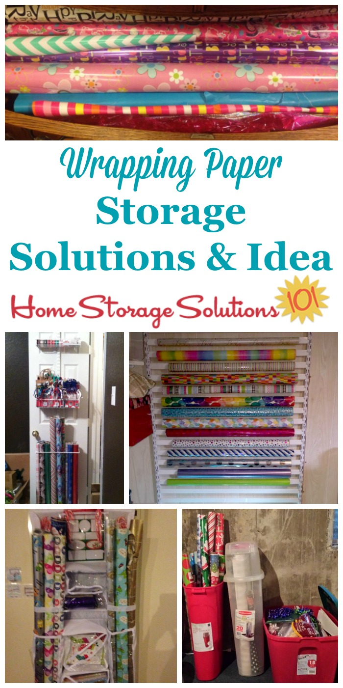 Here are ideas and products you can use for wrapping paper storage to keep your gift wrap, ribbons, bows, bags, tape, scissors and other accessories organized and easily accessible {on Home Storage Solutions 101} #HolidayStorage #GiftWrapStorage #WrappingPaperStorage
