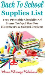 Back to school supplies list, including free printable checklist of items to keep at home for homework and school projects