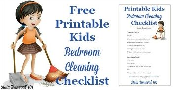 Free printable kids bedroom cleaning checklist