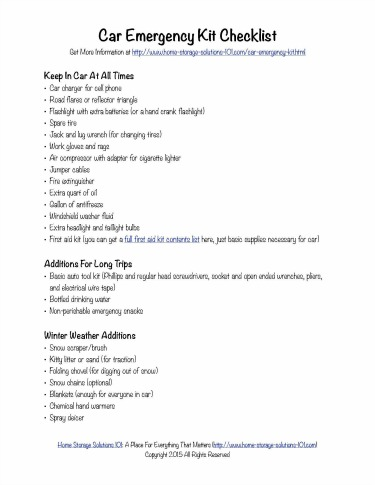 free printable car emergency kit checklist