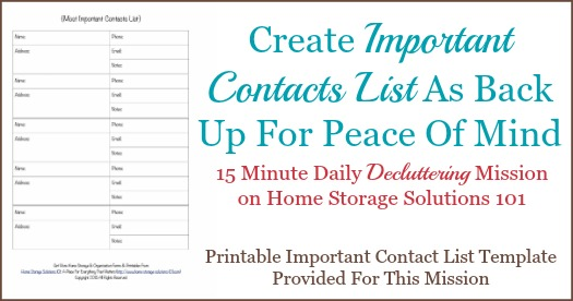Create important contacts list as back up for peace of mind {one of the #Declutter365 missions on Home Storage Solutions 101}