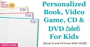 Personalized book, video game, CD and DVD labels for kids