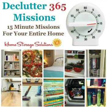 Declutter 365 missions {15 minute missions for your entire home}