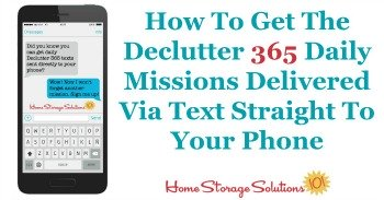 How to get the Declutter 365 daily missions delivered via text straight to your phone